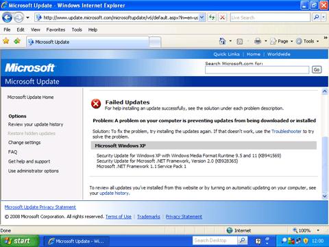 Microsoft Update: Failed Updates