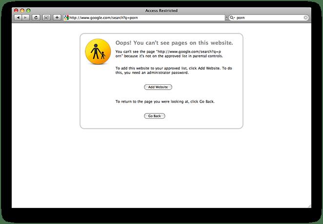 Parental Controls preventing website access in Safari on Mac OS X 10.5