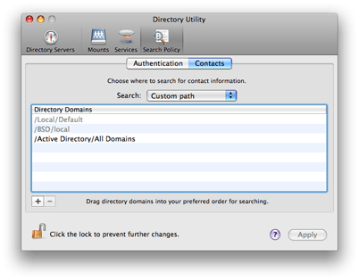Mac OS X 10.5 Directory Utility - Search Policy Contacts