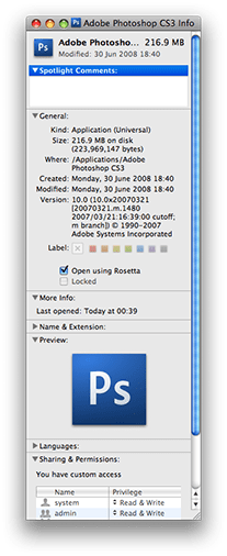 Select Rosetta emulation for Photoshop CS3