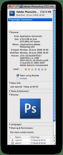 Select Rosetta emulation for Photoshop CS3