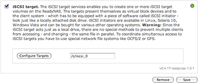 ReadyNAS iSCSI Target add-on configuration