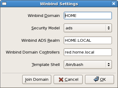 Winbind settings