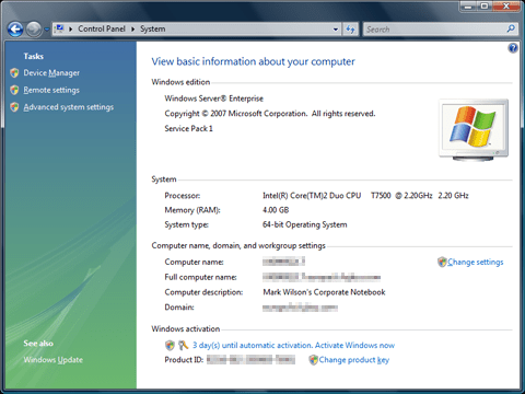 Windows Server 2008 running as a workstation
