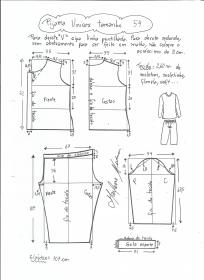 Esquema de modelagem de pijama unisex tamanho 54.