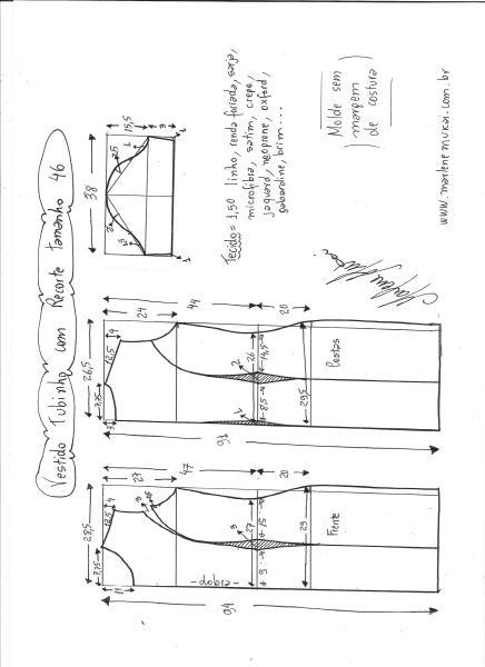 Esquema de modelagem de vestido tubinho com recorte tamanho 46.