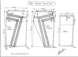 Molde de Saia Envelope com Detalhes tamanho  42.