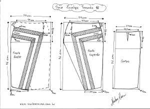 Molde de Saia Envelope com Detalhes tamanho 46.