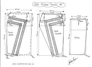 Molde de Saia Envelope com Detalhes tamanho 54.