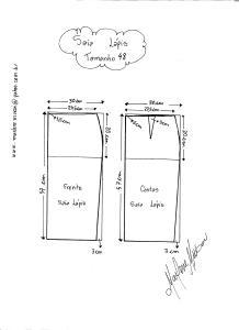 Esquema de Modelagem de Saia Lápiis tamanho 48.