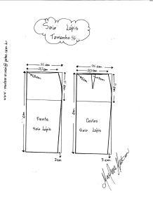 Esquema de Modelagem de Saia Lápiis tamanho 56.