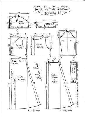 Esquema de modelagem de vestido de festa  império tamanho 46.