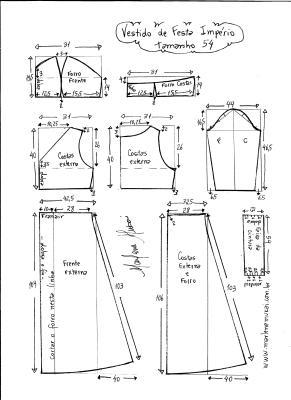 Esquema de modelagem de vestido de festa  império tamanho 54.