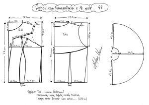 Esquema de modelagem de vestido com transparência godê tamanho 48.