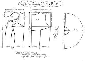 Esquema de modelagem de vestido com transparência godê tamanho 52.
