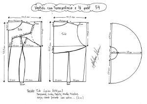 Esquema de modelagem de vestido com transparência godê tamanho 54.
