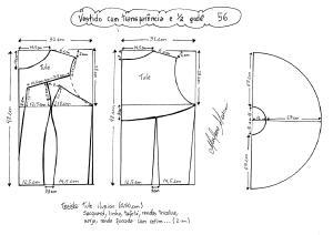 Esquema de modelagem de vestido com transparência godê tamanho 56.