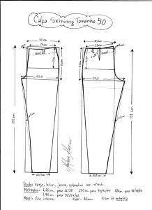Esquema de modelagem de calça skinny tamanho 50.