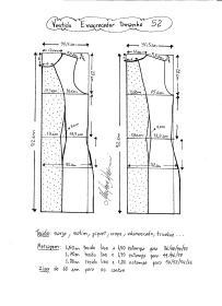 Esquema de modelagem de vestido tubinho que afina a silhueta tamanho 52.