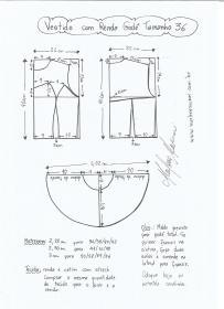 Esquema de modelagem de vestido com renda godê tamanho 36.