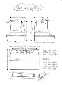 Esquema de modelagem de short saia tamanho 38.