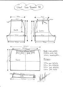 Esquema de modelagem de short saia tamanho 46.