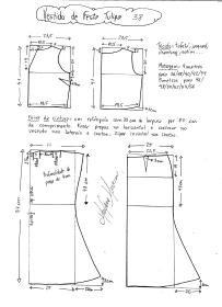 Esquema de modelagem de vestido de festa Tulipa tamanho 38.