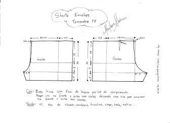 Esquema de modelagem de short envelope tamanho PP.