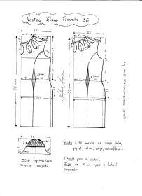Esquema de Modelagem de Vestido Eliana tamanho 36.