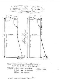 Esquema de modelagem de Vestido Regata Simples tamanho 50.