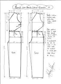 Esquema de modelagem de Macacão com Recorte Lateral tamanho 36