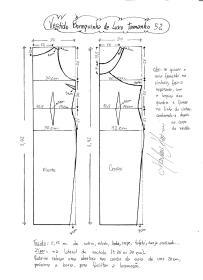 Esquema de modelagem do Vestido Bonequinha de Luxo tamanho 52.