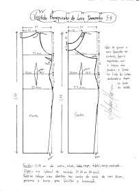 Esquema de modelagem do Vestido Bonequinha de Luxo tamanho 54.