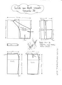 Esquema de modelagem de Vestido com decote Cruzado tamanho 50.