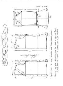 Esquema de modelagem de Blusa com Manga Sino tamanho 56.