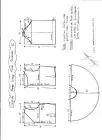 Esquema de modelagem de vestido de manga longa tamanho 50.