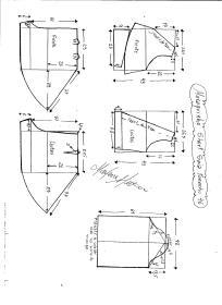 Esquema de modelagem de Macaquinho com short saia godê tamanho 46.