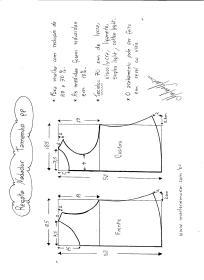 Esquema de Modelagem de regata nadador tamanho PP.