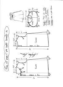 Esquema de modelagem de blusa com pregas e gola boneca tamanho 36.
