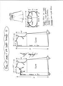 Esquema de modelagem de blusa com pregas e gola boneca tamanho 48.