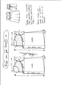 Esquema de modelagem de blusa com pala e renda tamanho 36.
