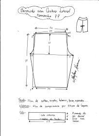 Esquema de modelagem de bermuda em malha sem costura lateral tamanho PP.