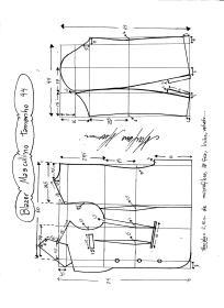 Esquema de modelagem de Blazer ou Paletó masculino tamanho 44.