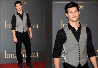 Um colete que pode ser usado na composição de um terno ou como complemento de um visual esportivo como este usado pelo ator Taylor Lautner. Segue esquema de modelagem do 36 ao 56.