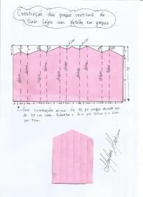 Esquema de modelagem das pregas verticais da saia lápis com pregas na frente.
