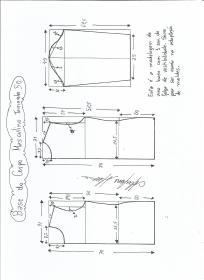 Esquema de modelagem de Base do Corpo Masculino tamanho 50.
