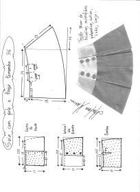 Esquema de modelagem de saia com pala e pregas fêmea tamanho 36.