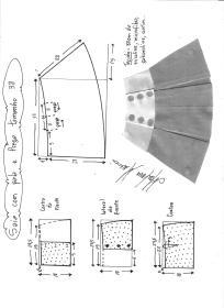Esquema de modelagem de saia com pala e pregas fêmea tamanho 38.