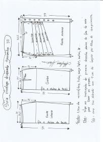 Esquema de modelagem de saia lápis com drapeado tamanho 50.