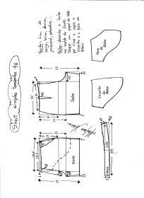Esquema de modelagem de short simples cós médio tamanho 46.